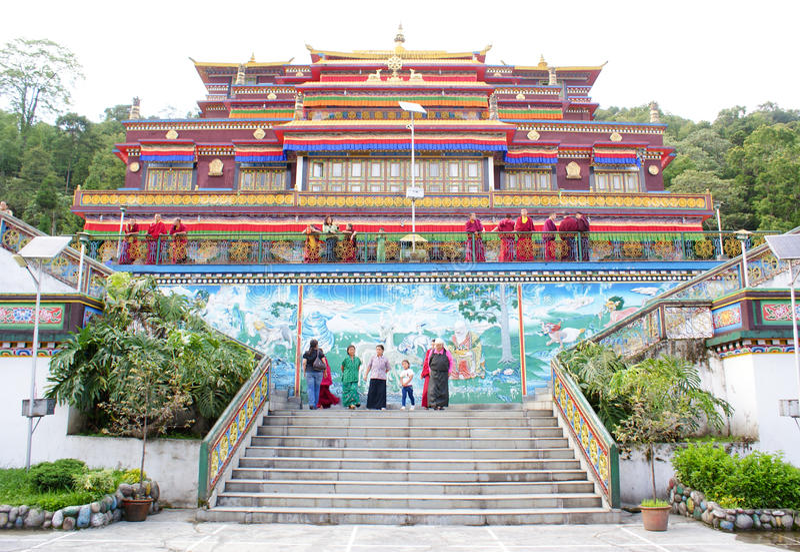 Panoramablick von Rumtek-Kloster, nahe Gangtok stockfotos