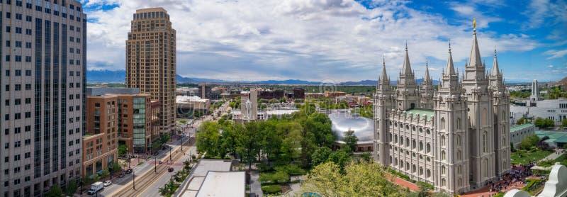 Panoramablick von Salt Lake City im Stadtzentrum gelegen, Utah, USA lizenzfreie stockfotografie
