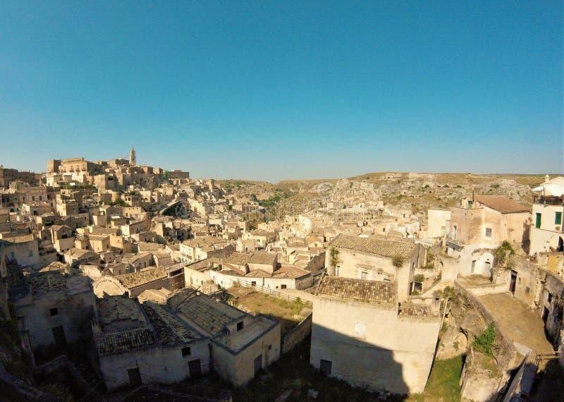 Panoramablick von Sassi di Matera stockfotografie