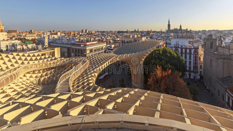 Panoramablick von Sevilla vom Metropol-Sonnenschirm lizenzfreie stockfotografie