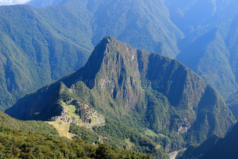 Panoramablick von Standort Machu Picchu von Berg Machu Picchu stockfoto