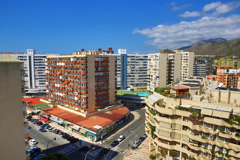Panoramablick von Terremilinos, Spanien stockfotos