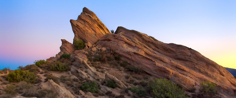Panoramablick von Vasquez-Felsen bei Sonnenuntergang stockfoto