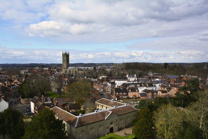 Panoramablick von Warwick, England, Vereinigtes Königreich stockbilder