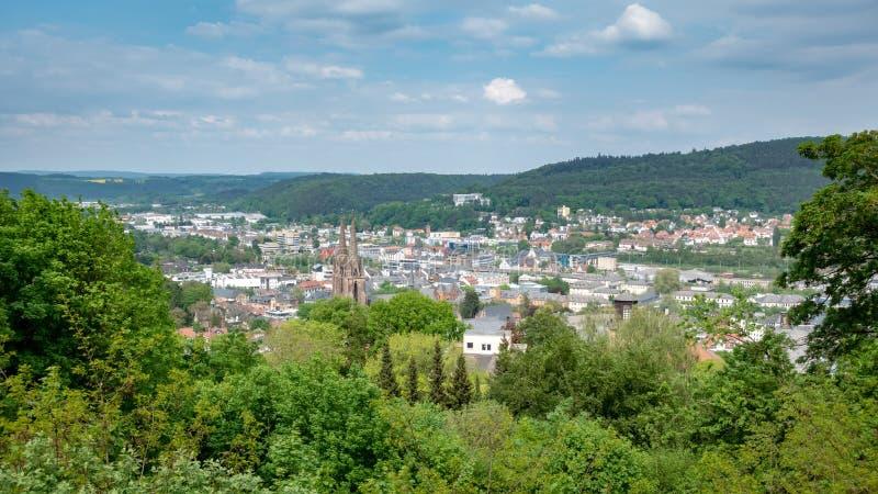 Panoramablick zu Marburg Deutschland lizenzfreies stockbild
