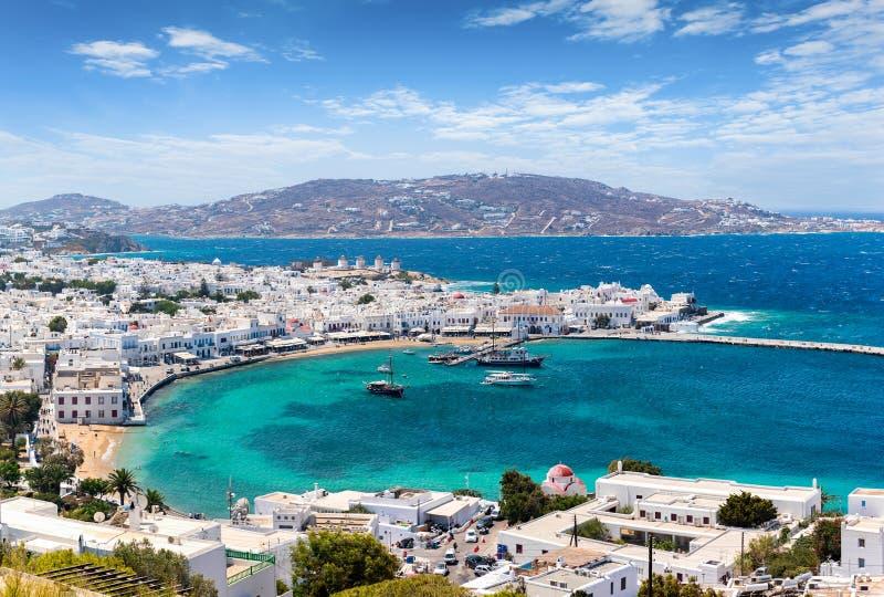 Panoramablick zur Stadt von Mykonos-Insel auf den die Kykladen-Inseln, Griechenland stockfoto