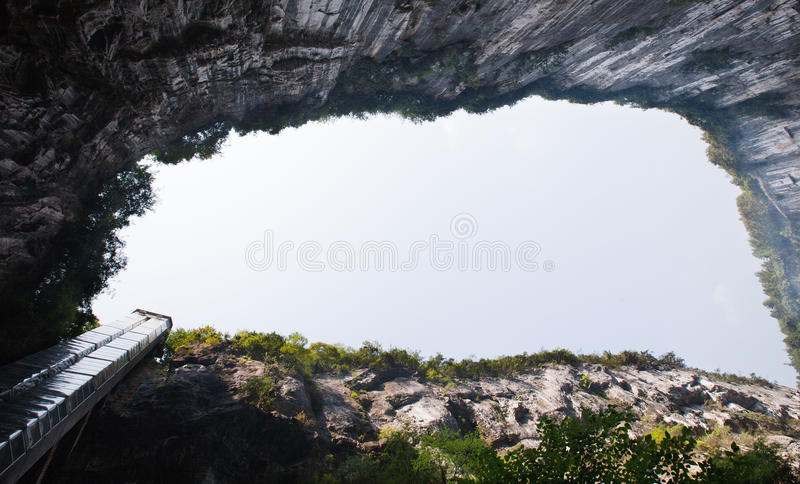 Panoramaelevator vid sinkholen arkivfoton