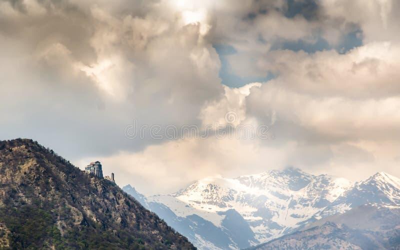 Panoramafoto van Sacra van Heilige Michael, Piemonte, Turijn, Italië stock foto