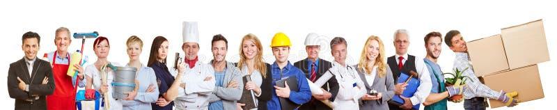 Panoramagruppe von personen von vielen handelt und Berufe lizenzfreies stockbild