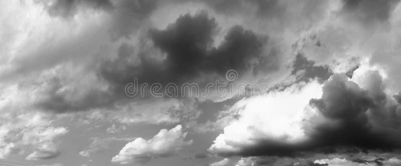 Panoramahimmel fördunklar svartvitt konst i härlig bakgrund för natur royaltyfri bild