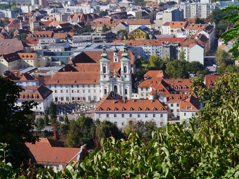Panoramaic widok od Slossberg wzgórza w Graz fotografia stock