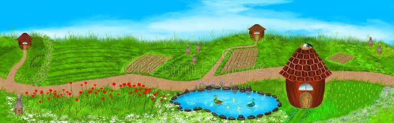 Panoramaillustration av ett sommarlandskap stock illustrationer