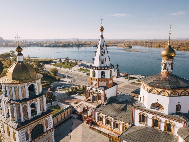 Panoramakyrka i Irkutsk arkivbilder