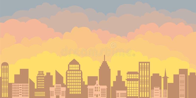 Panoramalandschaft des Morgenschattenbildes der Stadt Sonnenaufgang gegen den Hintergrund von einer Großstadt mit Wolkenkratzern stock abbildung