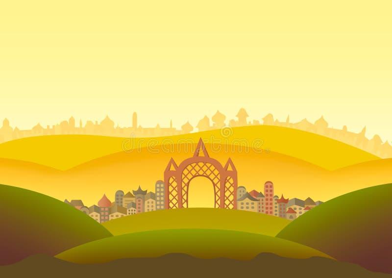 Panoramalandskapillustration royaltyfria bilder