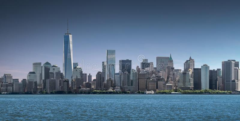 PanoramaLower Manhattan, horisont och stads- bakgrund, New York City royaltyfria foton