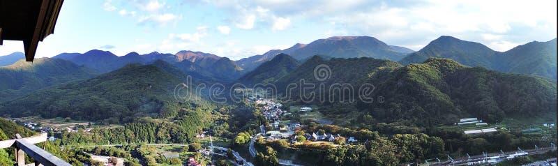 Panoramamening die Yamadera-tempel omringen stock foto's