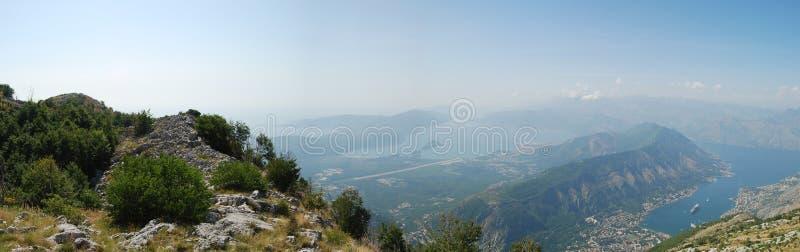 Panoramamening over de Montenegro fjord stock afbeelding
