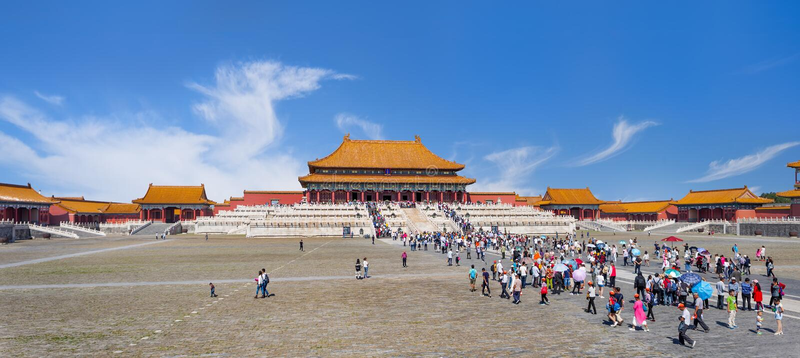 Panoramamening over pavillion van het Paleismuseum, Peking, China royalty-vrije stock afbeeldingen