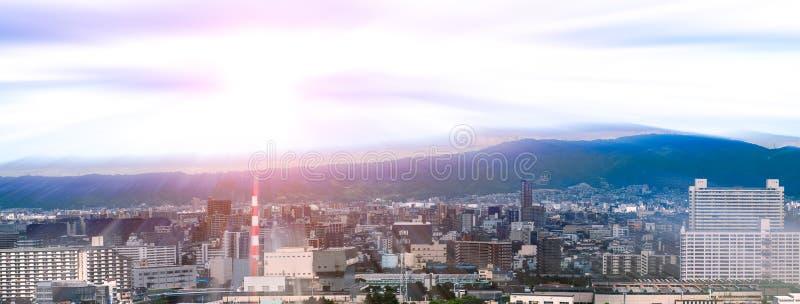 Panoramamening van cityscape van Osaka, Japan royalty-vrije stock afbeelding
