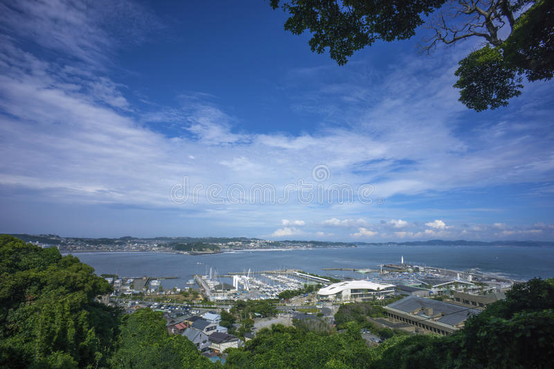 Panoramamening van Enoshima, Japan stock foto