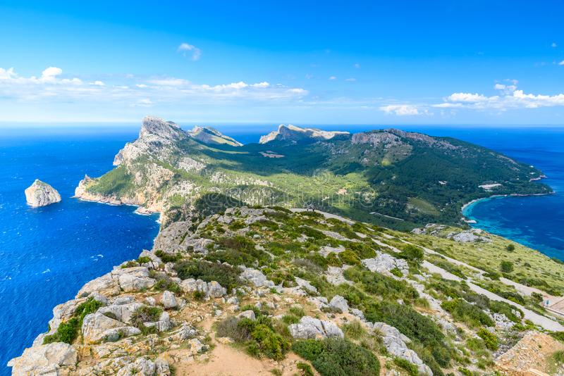 Panoramamening van GLB DE Formentor - wilde kust van Mallorca, Spanje royalty-vrije stock fotografie