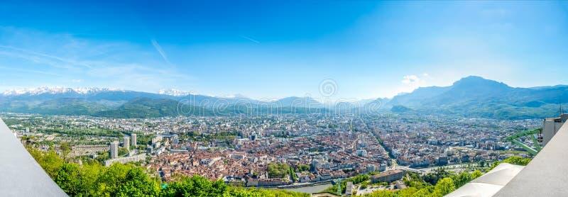 Panoramamening van Grenoble, Frankrijk royalty-vrije stock afbeelding