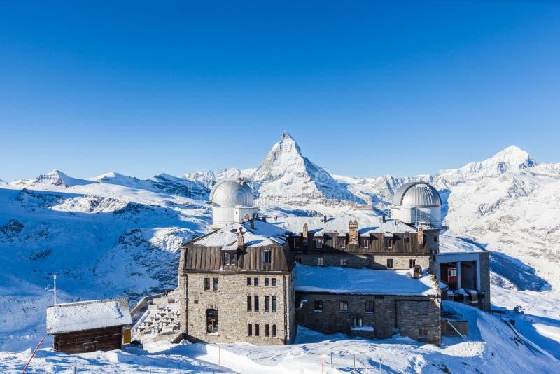 Panoramamening van Matterhorn Massief van Gornergrat stock foto's