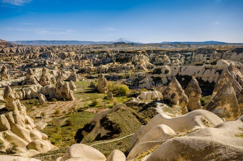 Panoramamening van vulkanisch rotslandschap, Cappadocia royalty-vrije stock foto