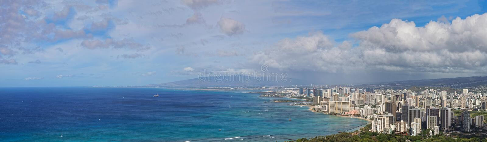 Panoramamic view of downtown Honolulu and Waikiki, Oahu, Hawaii royalty free stock photos