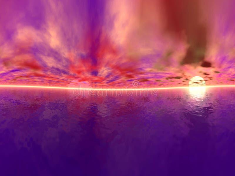 panoramapastellsolnedgång stock illustrationer