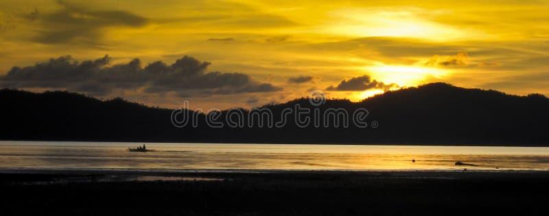 panoramaphilippines för banka palawan solnedgång arkivfoto