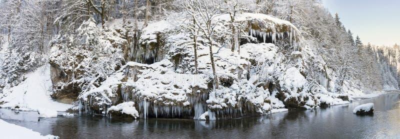 Panoramaplats med is och snö på floden i Bayern arkivfoto
