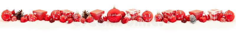 Panoramaram för glad jul i rött arkivfoto