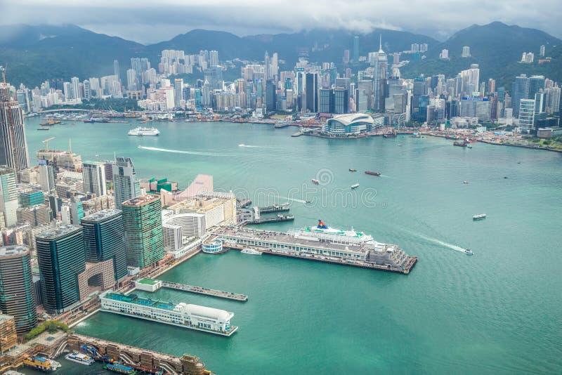 Panoramasatellietbeeld van Hong Kong City Hongkong, China Juli 2018 stock afbeeldingen