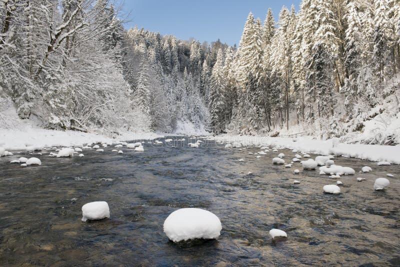 Panoramascène met ijs en sneeuw bij rivier in Beieren stock foto's