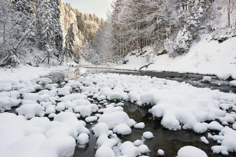 Panoramascène met ijs en sneeuw bij rivier in Beieren royalty-vrije stock fotografie