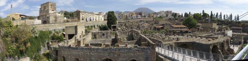 Panoramasicht auf die alten römischen Ruinen von Herculaneum stockfoto