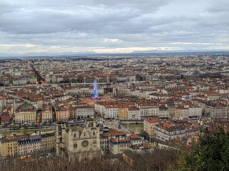 Panoramasicht auf Lyon, Winter, Frankreich stockfoto