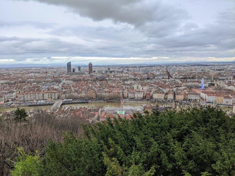 Panoramasicht auf Lyon, Winter, Frankreich lizenzfreie stockfotos