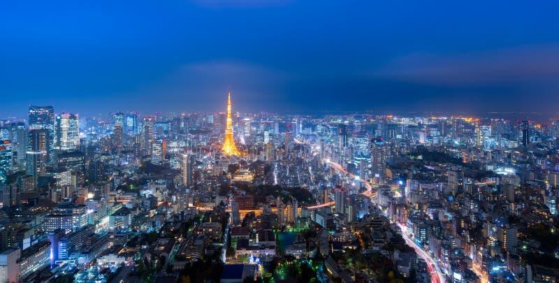 Panoramasikt över det Tokyo tornet och Tokyo cityscape arkivbild