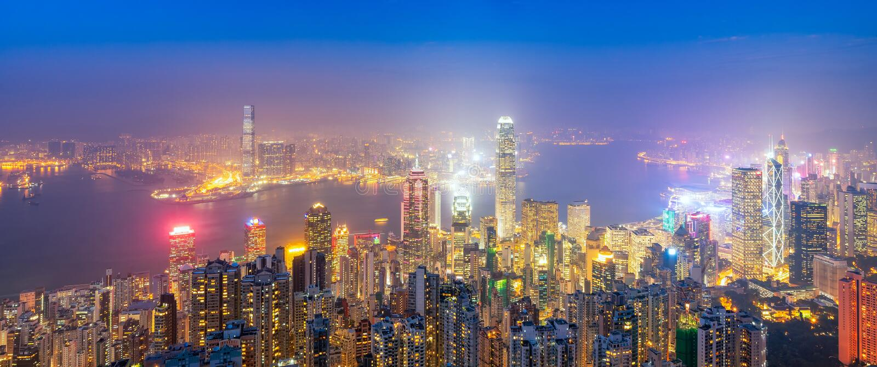 Panoramasikt över i stadens centrum Hong Kong den berömda cityscapesikten av Hong Kong horisont royaltyfria foton