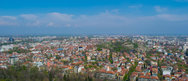 Panoramasikt av den Plovdiv Bulgarien royaltyfria foton