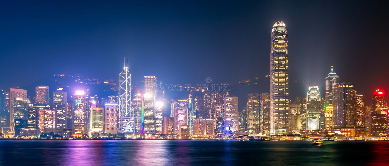Panoramasikt av Hong Kong den i stadens centrum sikten från Kowloon arkivbilder