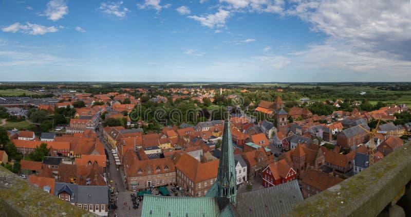 Panoramasikt av Ribe, Danmark royaltyfri bild
