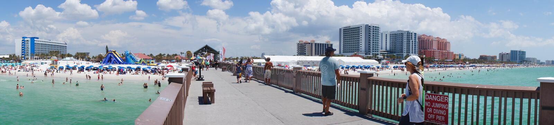 Panoramasikt från pir 60, Clearwater strand Florida, royaltyfria bilder