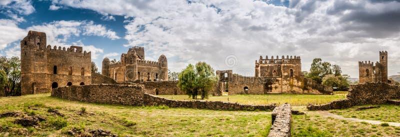 Panoramasikt på den Fasilides slotten arkivbild