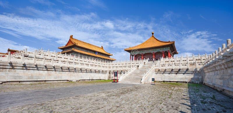 Panoramasikt på paviljongen, slottmuseum Forbidden City, Peking, Kina fotografering för bildbyråer