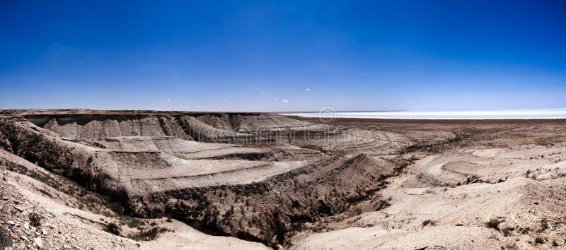 Panoramasikt till den salthaltiga Barsa Kelmes sjön och Ustyurt platå i Karakalpakstan, Uzbekistan royaltyfri bild