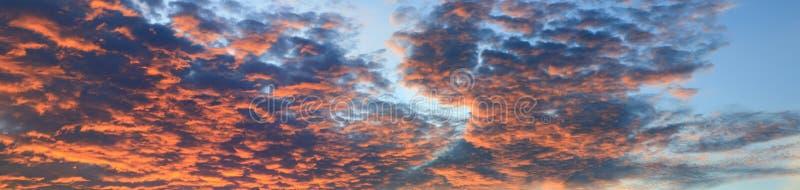 Panoramasolnedgånghimmel som är härlig i härlig bakgrund för skymningtid arkivbild
